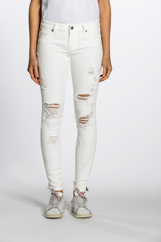 Pantaloni Bianchi Strappati Donna King Lawley Fashion
