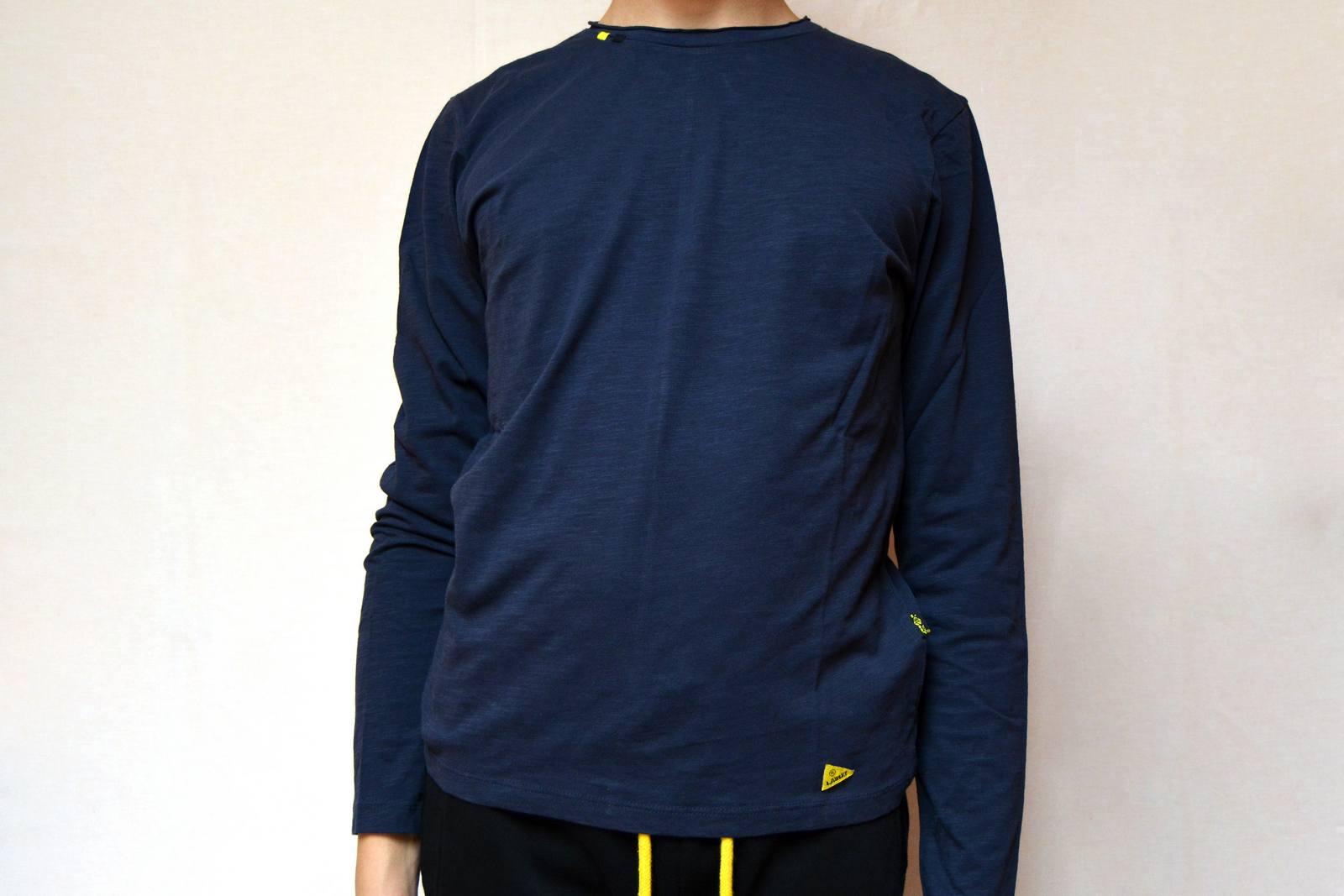 T shirt manica lunga uomo blu, logo