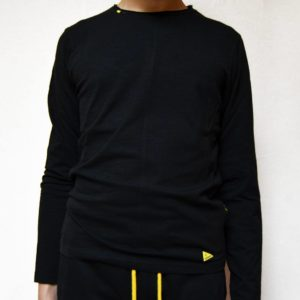 T shirt manica lunga uomo nera, logo
